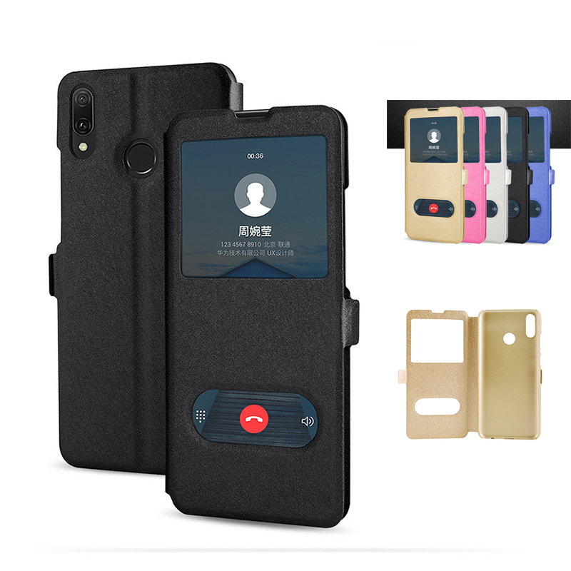 Smart Window View Leather <font><b>Flip</b></font> <font><b>Case</b></font> for Huawei <font><b>Honor</b></font> 20 Pro 9X Holder Cover Mate <font><b>7</b></font> 8 9 10 20 <font><b>Lite</b></font> 30 Pro Book <font><b>Cases</b></font> image