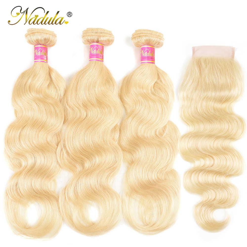 Nadula mechones de pelo ondulado con cierre extensiones de pelo ondulado brasileño 100% extensiones de cabello humano Remy 613 mechones con cierre