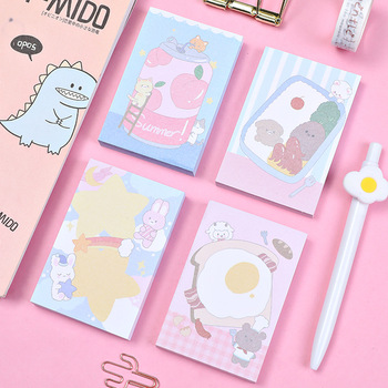 Cartoon Cute Bear Sticky Notes 100sheets Creative Student Post It Note Memo Pad Message Paper Planner Stickers Kawaii Stationery 2pcs creative students stationery post it note with writing pad clip cartoon cute n times posted message notes