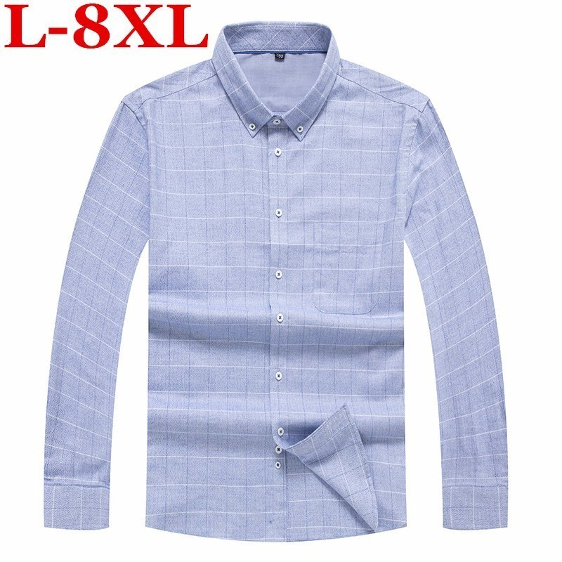 New  8XL 7XL 6XL Plus Size High Quality 100% Cotton Men Shirt Long Sleeved Plaid Casual Shirts Brand Clothing Man Business Shirt