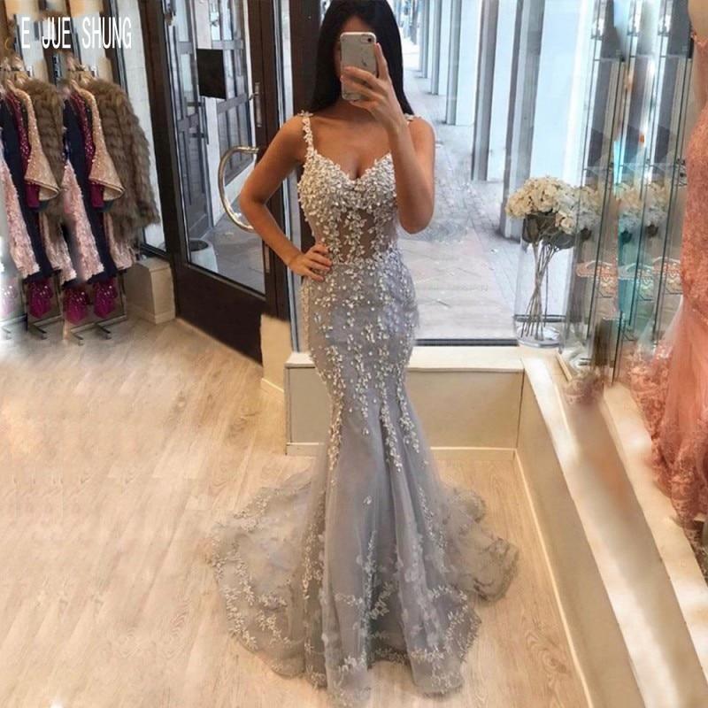 E JUE SHUNG Gray Mermid Prom Dresses Spaghetti Strap Zipper Back Lace Appliques Evening Gowns Formal Dresses Robe De Mariee
