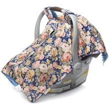 T5EC Infant Car Seat Canopy and Nursing Cover Up with Peekaboo Opening - Numerous Flowers Pattern