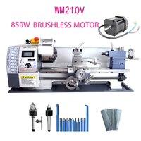 Torno do metal de wm210v/850 w motor sem escova todo o torno da engrenagem de aço/38mm furo furo do eixo + 125mm mandril mini máquina do torno|Torno| |  -