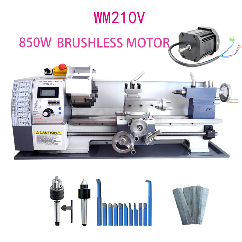 WM210V Metal Lathe/850W Brushless Motor All Steel Gear Lathe/38mm Spindle Bore Hole +125mm Chuck Mini Lathe Machine