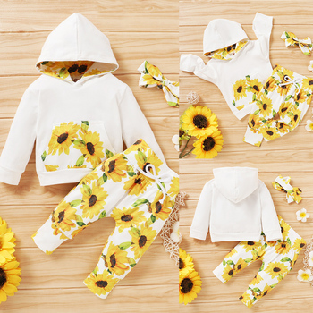 3 Pcs Baby Girl Clothing Set Fashion Girls Long Sleeve Hooded Tops Flower Print Long Pants Headband Clothes Newborn Outfits D30 chivry 4pcs cute infant baby girls boys unicorn clothing long sleeve bodysuit top pants headband hat girl outfits clothes set