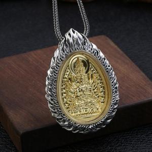 Image 2 - Büyük 925 gümüş sekiz buda heykeli kolye 925 ayar budist buda muska kolye 12 hayvanlar iyi şanslar kolye