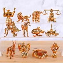 12 Stks/set Saint Seiya De Goud Zodiac 12 Sterrenbeelden Standbeeld Pvc Action Figure Collectible Model Speelgoed Pop