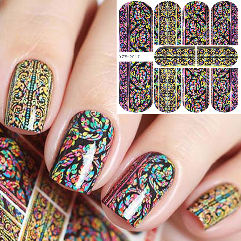 Hot Selling Watermark Nail Sticker Western Style Nail Sticker Stick Completely Nail Sticker Flower Jewelry Tool