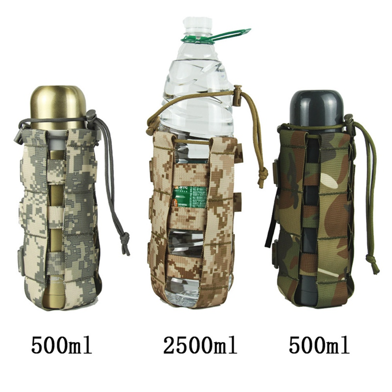 0.5L-2.5L Tactical Molle Water Bottle Pouch Nylon Military Canteen Cover Holster Outdoor Travel Kettle Bag