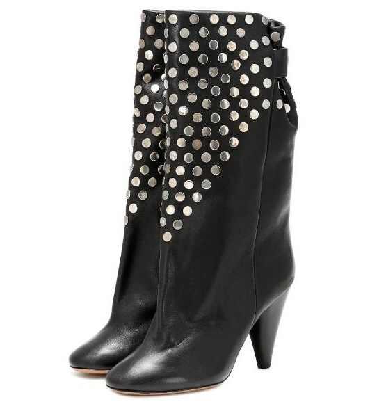 Remaches tachuelas de cuero negro mujer 85 mm punta punk tacones punta puntiaguda deslizamiento en media pantorrilla Martin botas Undercover hebilla botas cortas