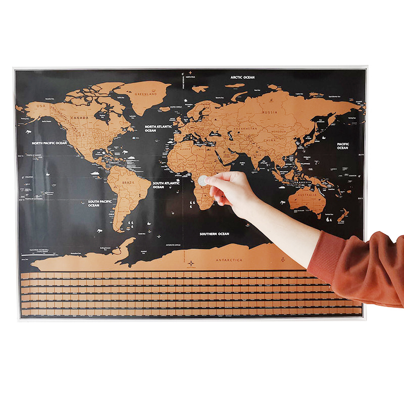 Scratch Map 82*29cm Home Decoration Wall Stickers Toy Stickers World Map 252 National Flags Waterproof Paper Without Scratch Map