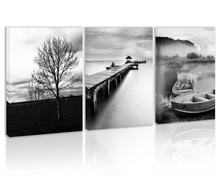 Black and White Tree Wall Art Decor Lake Boats Pier Cabin Mountain Canvas Painting Forest Prints Pictures for Home Living Room