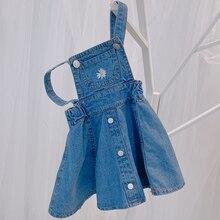 Новое летнее платье на бретелях для девочек детское милое джинсовое