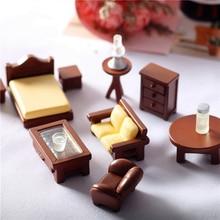 1/12 Dollhouse Mini Wooden Furniture For Dolls Toy Home Mini Bedroom Set DIY Miniatura Dollhouse Furniture For Kids