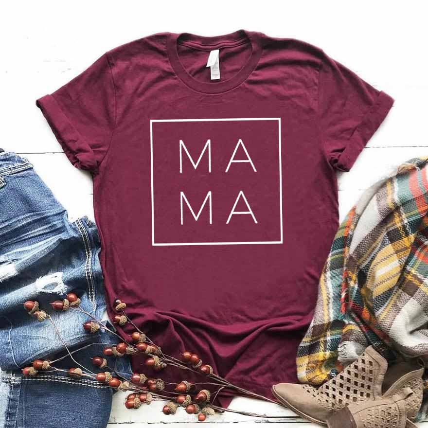 Mama Square Print Women Tshirt Cotton Casual Funny T Shirt Gift For Lady Yong Girl Top Tee 6 Color Street Drop Ship S-807