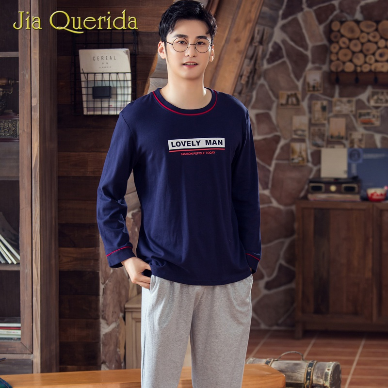 Mens Pyjamas Cotton Navy Blue Solid Gray Pants Long Sleeve Shirt Lovely Elastic Waist Men Sleepwear Chinese Pajamas Set For Man