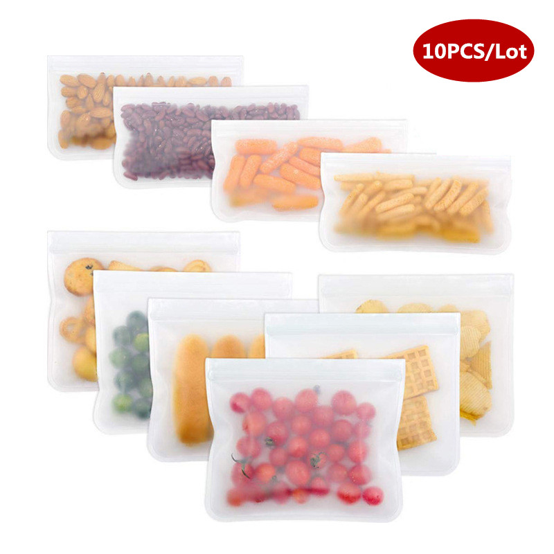 10Pcs/Set Silicone Storage Bag Food Storage Containers Reusable Silicone Food Storage Bags Stand Up Zip Shut Bag Cup Fresh Bag