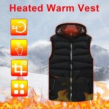USB зима умный с подогревом утеплитель жилет с капюшоном с подогревом куртка дышащий пальто для мужчин и женщин
