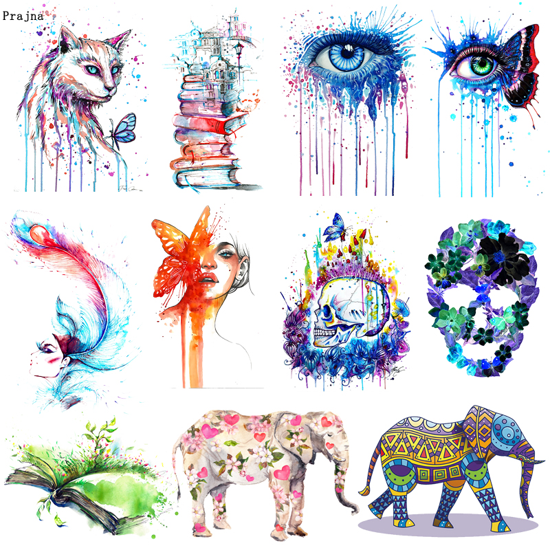 Prajna Colorful Punk Elephant Iron On Heat Transfers Vinyl Thermal Heat Transfer Skull Flower Eye Patches For Clothes Jacket DIY