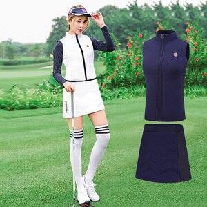 2020 T-Shirt da Golf Pgm Vestito con Gonna Autunno Inverno di Abbigliamento da Golf Della Ragazza Delle Signore Golf Donne Del Pannello Esterno + Giubbotti Sportswear Abbigliamento Set