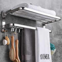 Folding 2 Tiers Stainless Steel Bathroom Towel Rack Storage Holder Wall Hanger Polished Toilet Towel Clothes Shelf With 9 Hooks