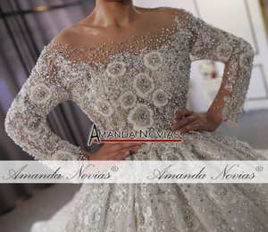 Image 5 - Vestido de noiva luxuoso branco debaixo dubai, pesado miçangas, vestidos de noiva 2020