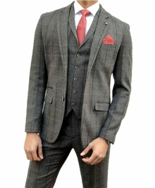 Mens Herringbone Tweed Brown Check 3 Piece Wool Suit Peaky Groom Formal Tuxedos