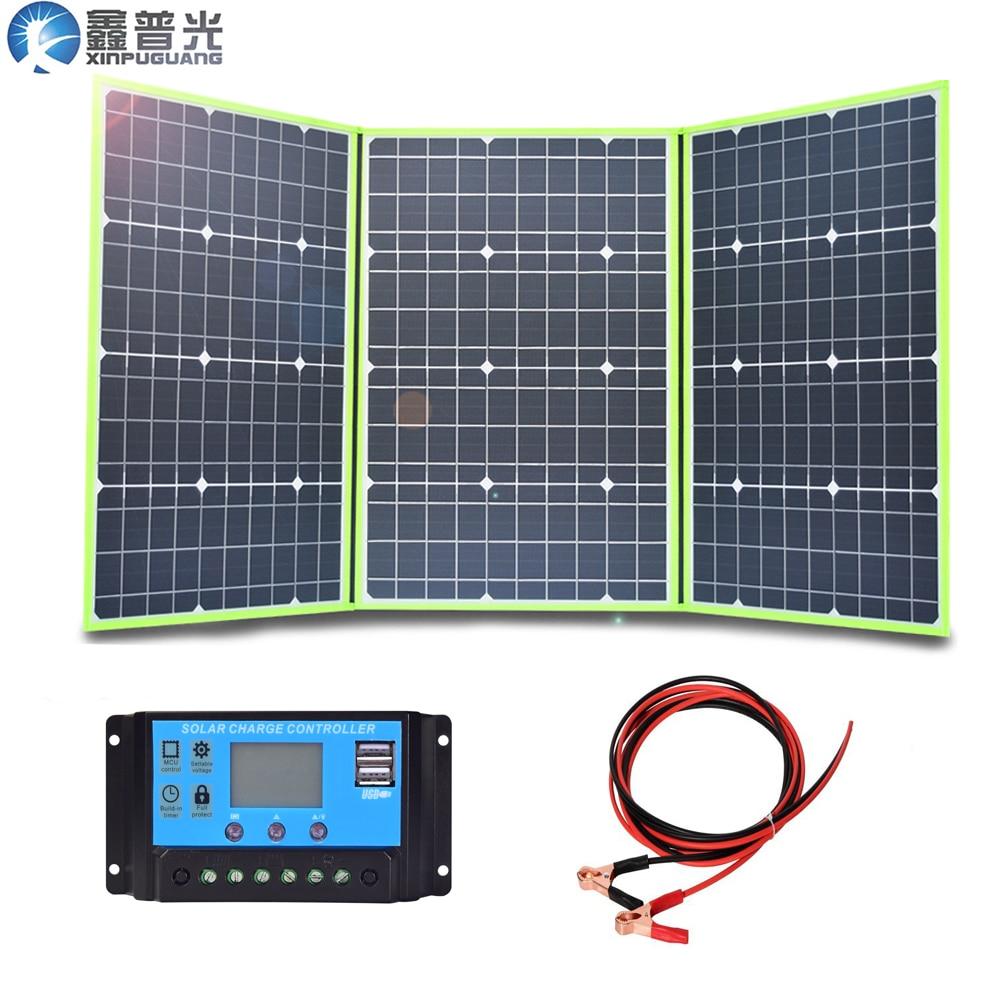 150w 50w * 3 20v mono panel solar flexible plegable para casa kit de cargador de 5v usb para 12v RV coche batería camping viaje