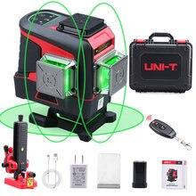 UNI-T verde laser nível 3d12 linhas horizontal vertical laser nível auto-nivelamento de controle remoto ao ar livre indoor lm575ld