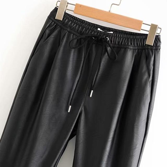 Vintage Stylish Pu Leather Pockets Pants Women 2020 Fashion Elastic Waist Drawstring Tie Ankle Trousers Pantalones Mujer 29