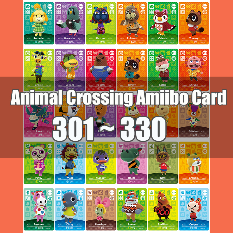Animal Crossing Amiibo Card Animal Crossing New Horizons Game NFC Lobo Card Work For NS 3DS Game Switch Series 4 (301-330)