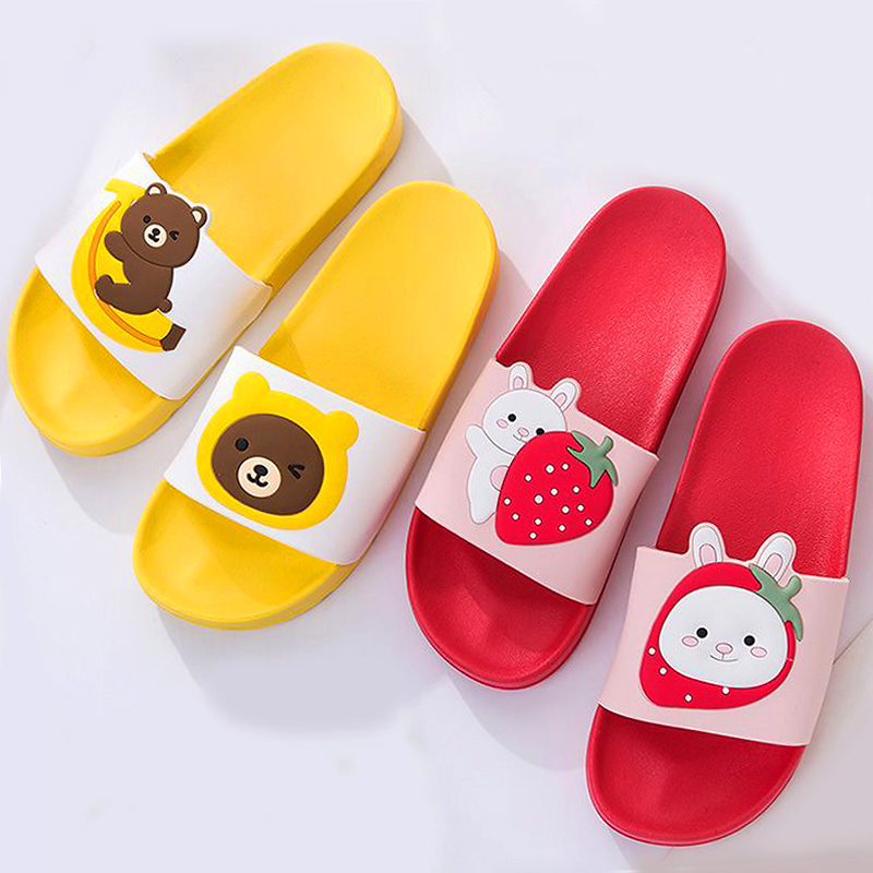 Cartoon Bear Rabbit Slides Women Summer Slippers Fruits Strawberry Banana Panda Home Slippers Sandals Women Shoes Flip Flops
