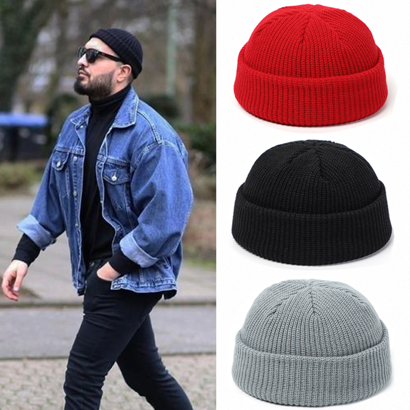 Knitted Hats Beanie-Hat Cap-Cuff Fisherman Skullcap Men Melon Docker Retro Winter Women