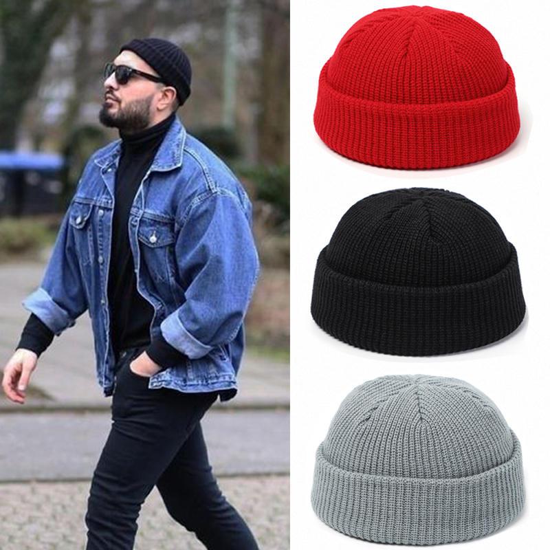 Knitted Hats Beanie-Hat Skullcap Men Melon Docker Retro Winter Baggy Women for Brimless