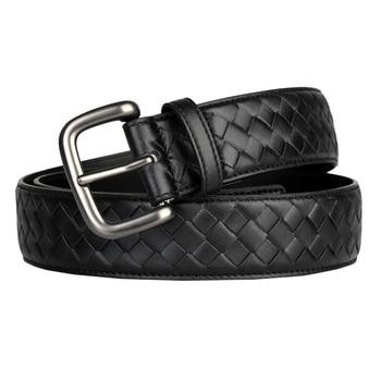 Western Hand Brided Black Coffee Blue Leather Pin Buckle Men Belt Fashion Jeans Causal Pants Belt 1