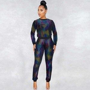 Image 1 - 2 stück Set Afrikanischen Sets Für Frauen Neue Pailletten Afrikanische Elastische Bazin Baggy Hosen Rock Stil Dashiki Hülse Berühmte Anzug für Dame