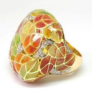 Женское кольцо с эмалью, зеленые, желтые разноцветные листья, винтажный Подарок на годовщину, ювелирное изделие в стиле бохо