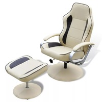 vidaXL Armchair with adjustable footrest Synthetic leather Cream white 241036