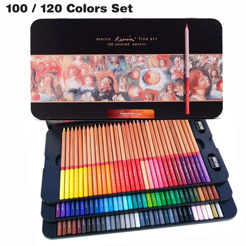 120 Colors Marco Renoir Color Pencil Crayon Iron Box Colored Pencils Coloring Drawing Crayon De Couleur Student Art Supplies