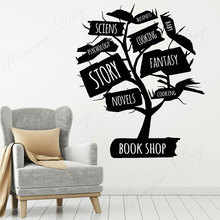 Creative Design Book Tree Vinyl Wall Decal Open Book Reading Book Shop House Stickers Mural Removable Wallpaper 4344