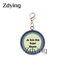 Zdying Stainless Steel Lobster Clasp Charms Glass Je Suis Une Super Mamie Cabochon Pendant DIY Backpack Key Accessories MI039(China)