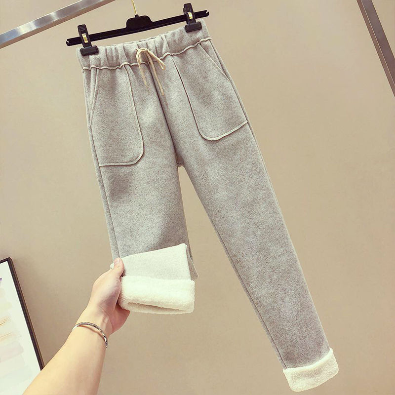 Woolen Casual Pants Women's Autumn And Winter 2018 New Style Lambs Wool High-waisted Straight-Cut Capri Baggy Pants Skinny Harem