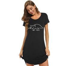 Frauen Schlafen Kleid Kurzarm Schlaf Kleid Nette Print Nacht Shirts Comfy Nachtwäsche Casual Vintage Harajuku Kleider Anjamanor