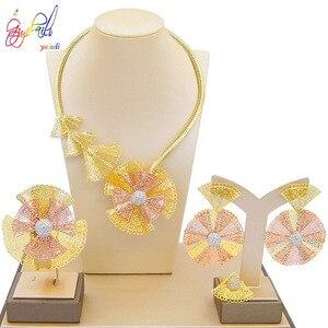 Image 5 - Yulaili Trendy Crystal Rhinestones Flower Shape Necklaces Pendant Earrings Bracelet Ring African Beads Women Dubai Jewelry Sets