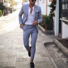 Светильник, синий смокинг, мужские свадебные костюмы, 2 предмета, блейзер делового костюма, костюм с отворотом, Homme Terno, вечерние костюмы(пиджак+ брюки