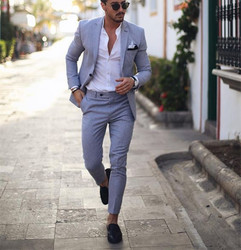 Luce Blu Smoking Abiti Da Uomo per la Cerimonia Nuziale 2 Pezzi Vestito di Affari Blazer Ha Raggiunto Il Picco Bavero Costume Homme Terno Abiti di Partito (jacket + pant)