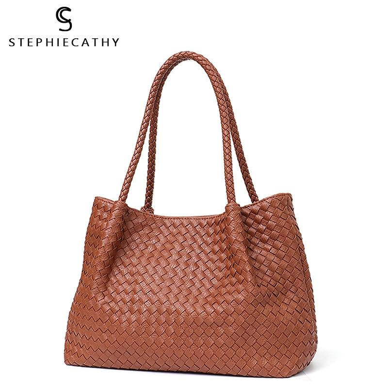 SC Women Vegan Leather Handbag Female Large Totes High Quality Handmade Woven Big Ladies Shoulder Top