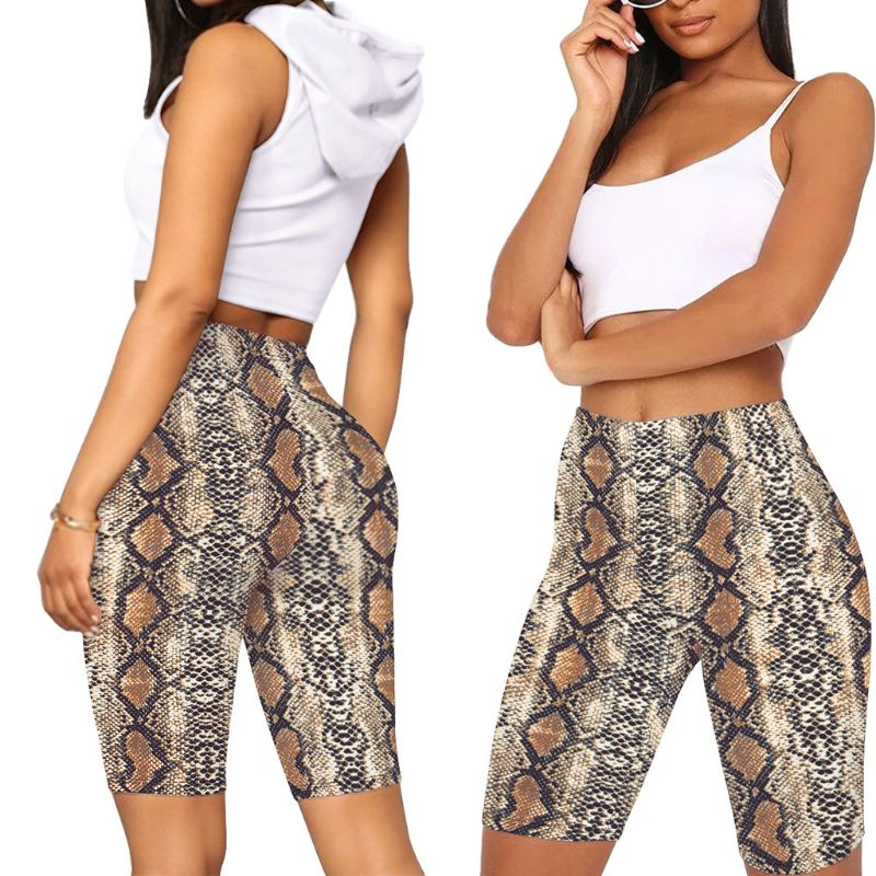 Women High Waist Biker Shorts Snakeskin Leopard Tie-Dye Digital Printed Workout Shorts Female Fitness Skinny Cycling Streetwear