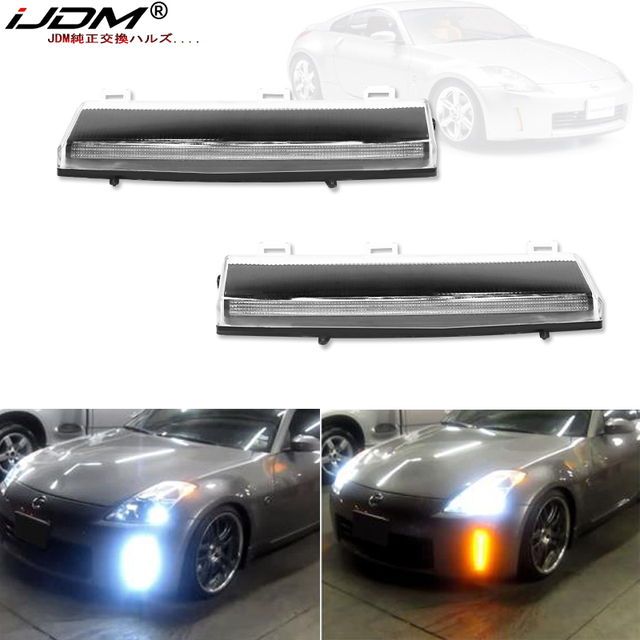 iJDM Front Bumper Switchback White&Amber LED Running Lights Turn Signal For 2006 2009 Nissan 350z LCI,Exact Fit Bumper Reflector