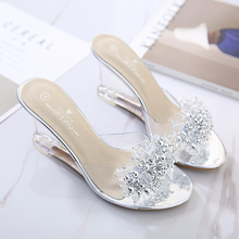 Summer New Wedges Sandals Women Sexy Crystal Transparent Hig